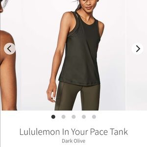 In Your Pace Tank, size 12 dark olive lululemon